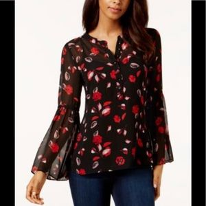 Black Red Sheer Hi-Low Floral Print Button Blouse
